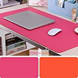Leather Desk Mouse Pad, Desk Pad Protecter 31.5'' x 15.7'' Non-Slip Comfortable Desk Writing Mat Waterproof PU Leather Mat Dual Use Office Desk Mat (Rose&Orange)