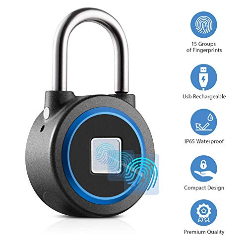 Fingerprint Padlock Thumbprint Bluetooth Lock USB Rechargeable IP65 Waterproof Ideal for Locker, Handbags, Golf Bags, Wardrobes, Gym, Door, Luggage, Suitcase, Backpack, Bike, Office (Blue)