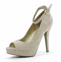 G By Guess Valora Women US 9.5 Tan Peep Toe Platform Heel