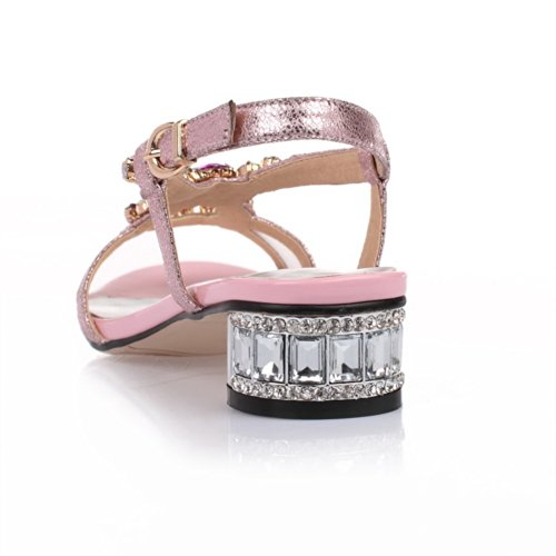 VogueZone009 Womens Open Toe Low Heel Soft Material Blend Materials Solid Sandals with Glass Diamond, Pink, 4.5 UK