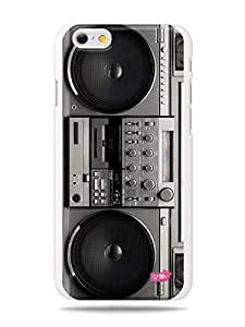 "GRÜV Premium Case - ""Retro Vintage 80s Radio Boombox Stereo"" Design - Best Quality Designer Print on White Hard Cover - for Apple iPhone 6"