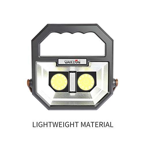 Portable Work Light,WARSUN Rechargeable Led Work Light,Camping Light,Waterproof Flood Lights, Stand Working Lights for Workshop 12W,1000 Lumens,6000K Daylight White