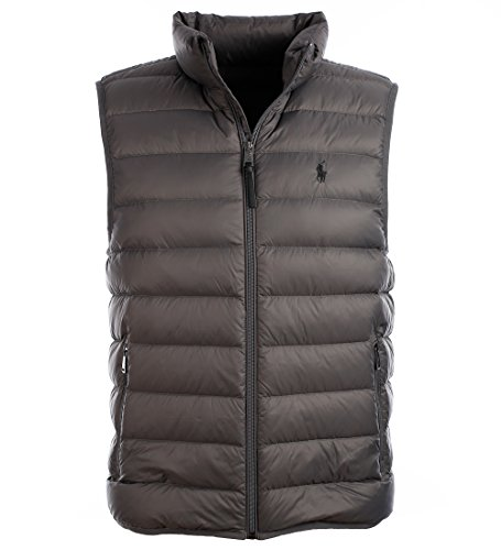 Polo Ralph Lauren Mens Full Zip Puffer Vest (Small, Vintage Gray) (Ralph Lauren Embroidered Vest)