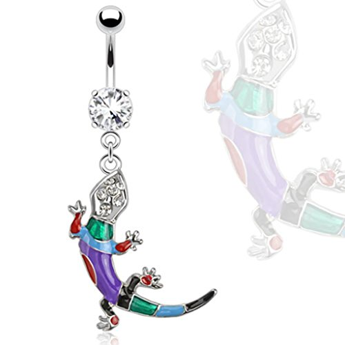 Dynamique Lizard Multi Colored Epoxy with Gems Dangle 316L Surgical Steel Belly Button Ring