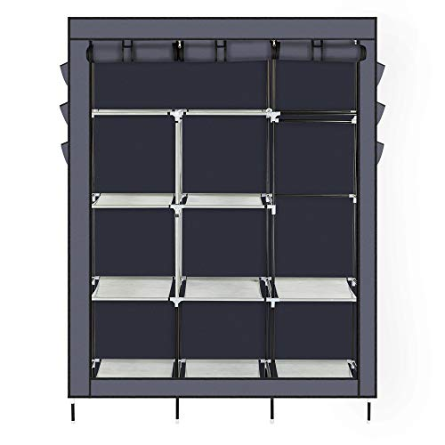 Portable Closet Wardrobe 69 Clothes and Shoes Storage Organizer Metal Shelf Cabinet with Non-Woven Cover