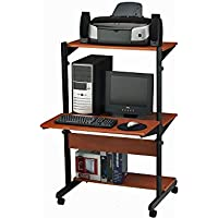 Adjustable Height Computer Cart Medium Cherry Finish Dimensions: 32W x 31D x 50H Weight: 60 lbs.