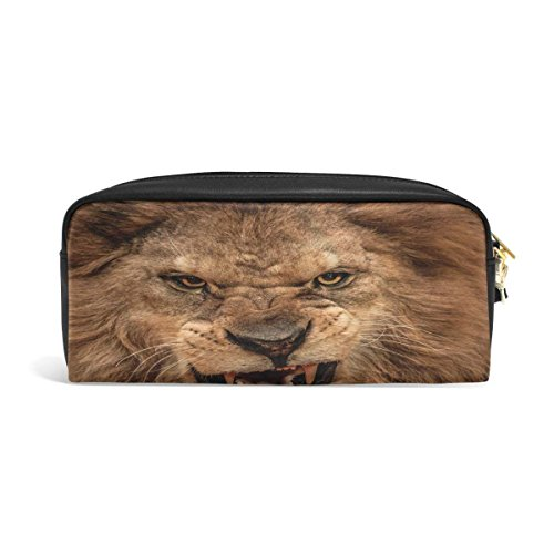 Pencil Case Lion Head Artwork Big Stationery Holder Cosmetic Bag with Zip Art Colored Pen Pouch for Kids Girls Boy (1 Pack) - Hardtop Head
