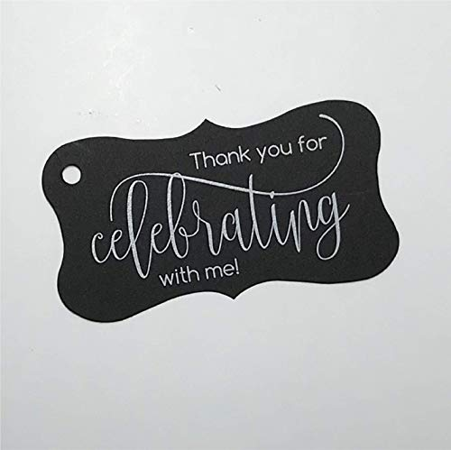 - Thank you for Celebrating with me Tags, Birthday Favor Tags, Graduation Favor Tags (FR-66-BK)