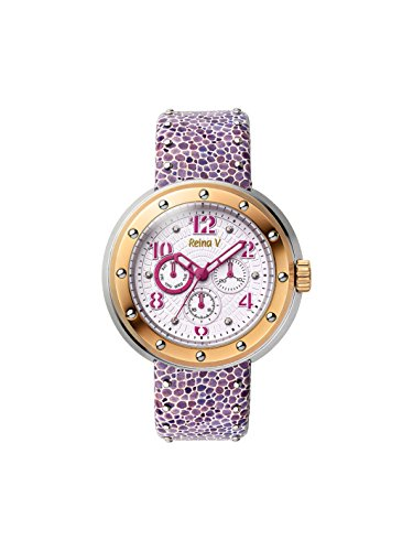 Women's Wrist Watch With Stainless Steel Bezel Case And Lilac & White Mosaic Genuine Leather Band - Analog Display, Japanese Quartz - Flash Collection By Reina V