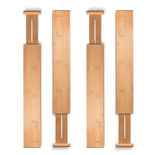 Unuber Bamboo Kitchen Drawer Dividers,Drawer Organizers Expandable Drawer Dividers Separators Organizers for in Kitchen, Dresser, Bathroom, Bedroom, Desk, Baby Drawer