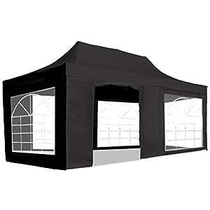 SG - Carpa plegable 3x6 con ventanas. Resistente al agua. Color negro