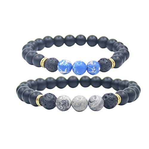 KSQS Couple Distance Chakra Bracelets for Lovers Ying Yang Balance 8 mm Beads for Christmas Birthday Valentine