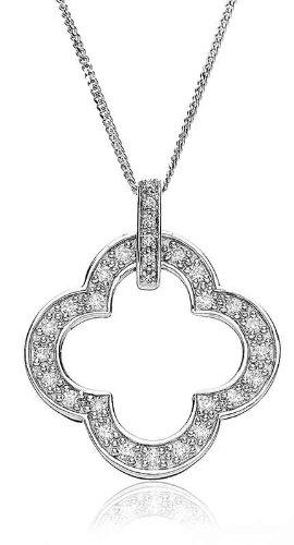 0.30CT Certified G/VS2 Round Brilliant Cut Diamond Club Shape Pendant in 18K White Gold