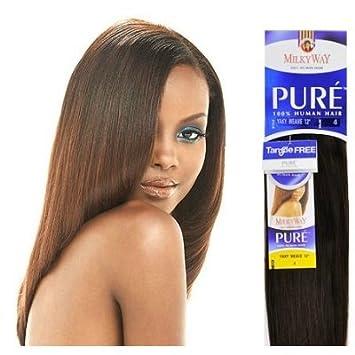 Pure yaky Weave 18 - Milkyway Extensiones de 100% pelo humano tejido # 4 por vía láctea: Amazon.es: Belleza