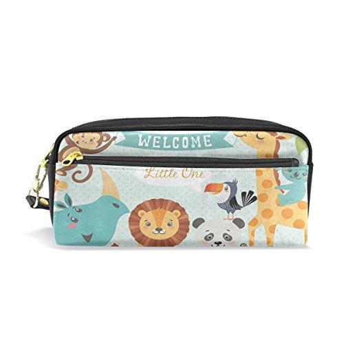 Giraffe Lion Bird - Leather Pen Case Pencil Bag Case with Cute Animal Giraffe Lion Bird Monkey Stationery Pouch Cosmetic Makeup Bag