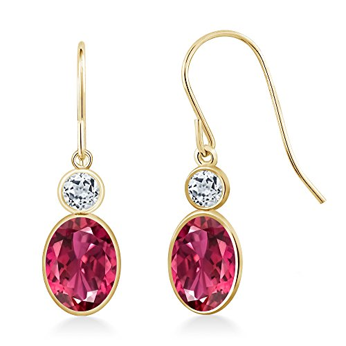 Gem Stone King 1.98 Ct Oval Pink Tourmaline White Topaz 14K Yellow Gold Earrings