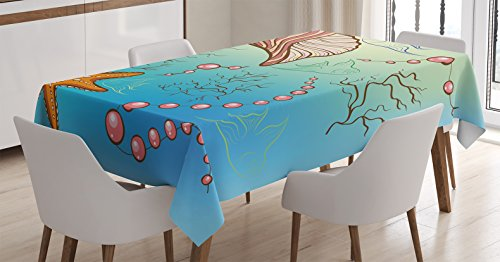 Ambesonne Pearls Decoration Tablecloth, Under the Sea Theme Decor Pearls Shell Starfish Fish Nautical Decor Marine Life Image, Rectangular Table Cover for Dining Room Kitchen, 52×70 Inches, Blue Pink