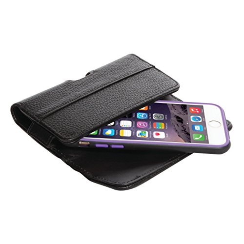 QuickFlipCase for iPhone 6/iPhone 6S (4.7'' Screen), BLACK, Premium Leather Horizontal Case with Belt Clip and Magnetic Enclosure, Also Fits Other Phones of Similar Size by Grantwood Technology