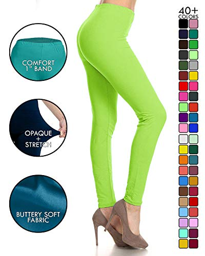 LDX128-Neon Green Basic Solid Leggings, Plus Size]()