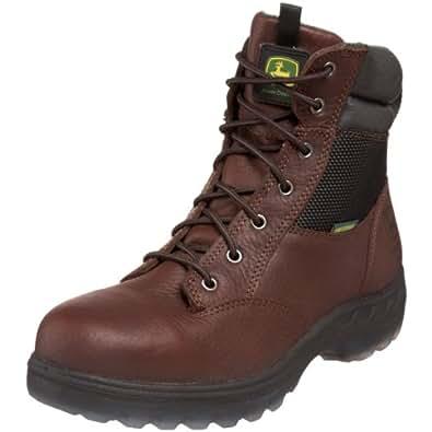 "John Deere Men's JD7601 7"" Steel Toe Waterproof Zipper Lace-Up Hiker Boot,Brown,7 M US"
