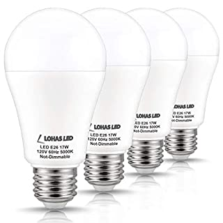 LOHAS A19 LED Bulb 150W Equivalent(UL Listed), 17 Watt Daylight White 5000K LED, 1600 Lumen Energy-Efficient Light Bulb, E26 Medium Base for Living Room, Kitchen, Bedroom, Non-Dimmable, 4 Pack