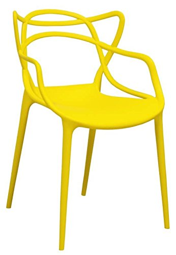 Mod Made Mid Century Modern Molded Plastic Loop Chair (Set of 2), Yellow
