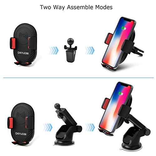 10W Wireless Car Charger, Detuosi Car Wireless Charger Car Phone Mount, Fast Charge for Samsung Galaxy S9/S8 plus/S8/S7/S6 Note 8/5, Standard Charge for iPhone X/8/8 Plus and all Qi Enabled Phones by DBNICE (Image #1)