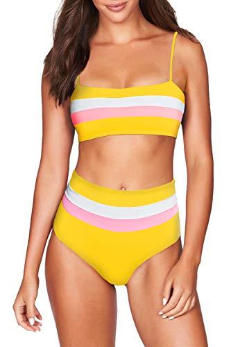 (COCOLEGGINGS Women's Striped Bandeau High Waist Bikini Set Bathing Suit Yellow S)