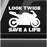 Look Twice Save A Life Vinyl Decal Bumper Sticker Sports Bike Motorcycle Safety Awareness Car Window Decal