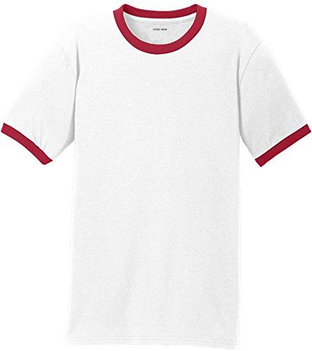 Joe's USA Mens Soft 5.4-Oz 100% Cotton Ringer T-Shirts-White/Red-M ()