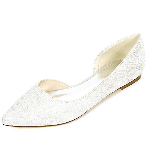 42 Zapatos High L 6cm Chunky Mujer Cerrado 0 De Boda yc 35 Plataforma Ivory noche Puntera Heels fPPFqz