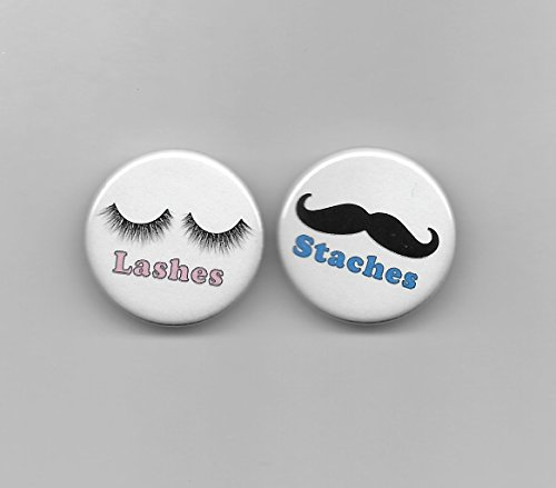 - Pink Lashes & Blue Staches, Gender Reveal Girl Boy Baby Shower Party Favors Pin Back Buttons Round Pinback 1-1/4