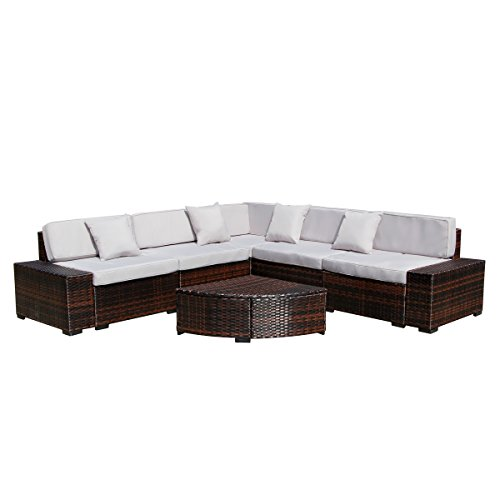U-MAX Outdoor Patio Garden Furniture PE Rattan Wicker Sofa Sectional with Tea Table Conversation Sets (6PCS, Brown)