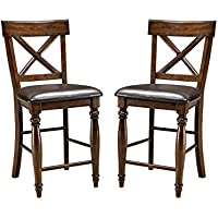 Imagio Home KG-BS-735C-RAI-K24 Kingston 24 X-Back Barstool w/PU seat, Set of 2