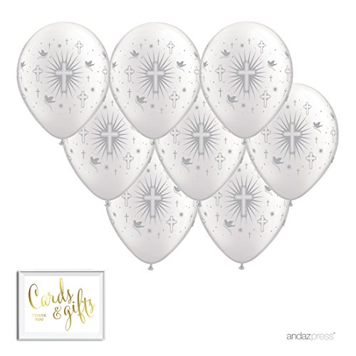 Andaz Press Printed Latex Balloon Party Kit with Gold Cards & Gifts Sign, Cross Doves Silver, 8-Pk, For Christening, Baptism, Communion ()