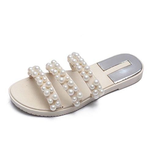 best loved f59cb 61a64 Cher Temps Femmes Pvc Perle Pantoufle Sandales Dété Gelée Plate-forme Chaussures  Blanc