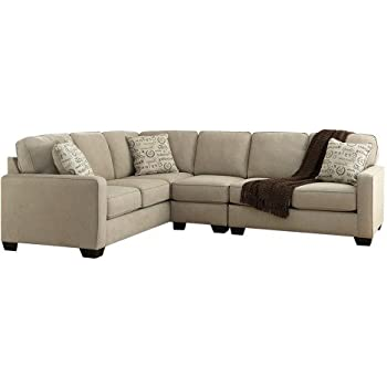 Ashley Alenya 16600-56-46-66 3PC Sectional Sofa with Right Arm Facing Loveseat Armless Chair Left Arm Facing Sofa and Pillows with Print Pattern in