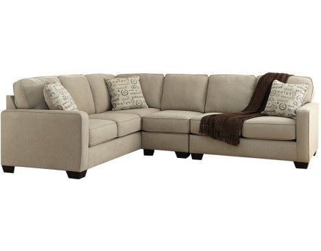 - Ashley Alenya 16600-56-46-66 3PC Sectional Sofa with Right Arm Facing Loveseat Armless Chair Left Arm Facing Sofa and Pillows with Print Pattern in