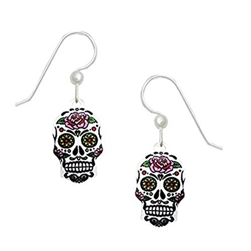 Sienna Sky Artisan Sugar Skull w/Pink Floral Earrings with Gift Box