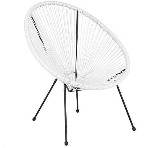 Flash Furniture Valencia Oval Comfort Series Take Ten White Rattan Lounge Chair (Chair White Bedroom Rattan)