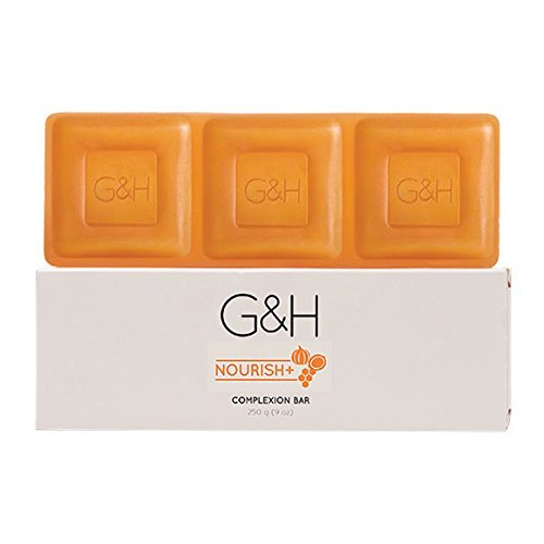 G&H NOURISH+Complexion Bar soap 250 G. Contains an exclusive blend of Orange Blossom Honey, Shea Butter, and Pumpkin Seed Oil.
