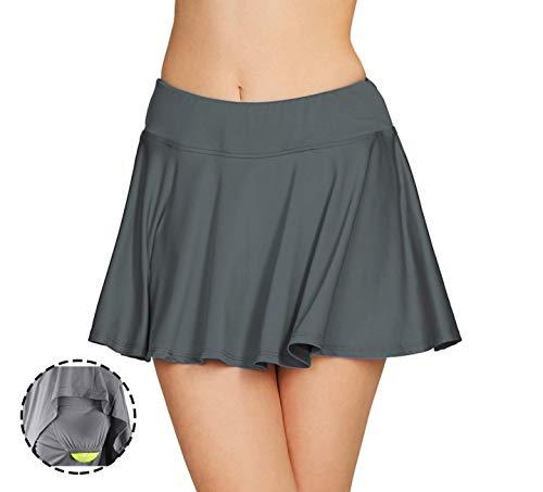 Cityoung Women Running Golf Skort Plus Size Pocket Girl Athletic Tennis Skirt Shorts Underneath l Grey