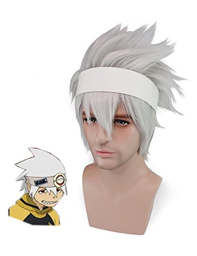 crazycatcos Soul Eater Evans Cosplay Wig White Hair Soul Eater Halloween Costume Wig
