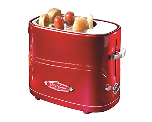 Nostalgia HDT600RETRORED Retro Series Pop-up Hot Dog Toaster, Red