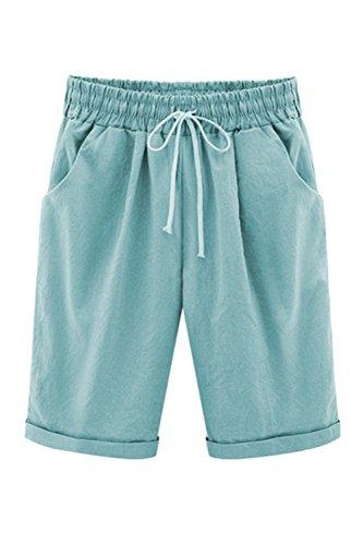 E Estate Pantaloncini Lunghezza Lightblue Dimensioni Donne Zojuyozio Cintura Casual Regolabile Mezza gOgwFaq