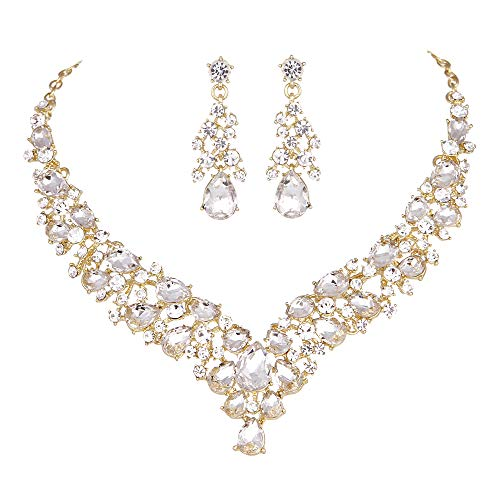 - Youfir Austrian Rhinestone Crystal Wedding Gown Prom Ball Necklace Earrings Jewelry Set for Brides Dress (Clear-Gold Tone)