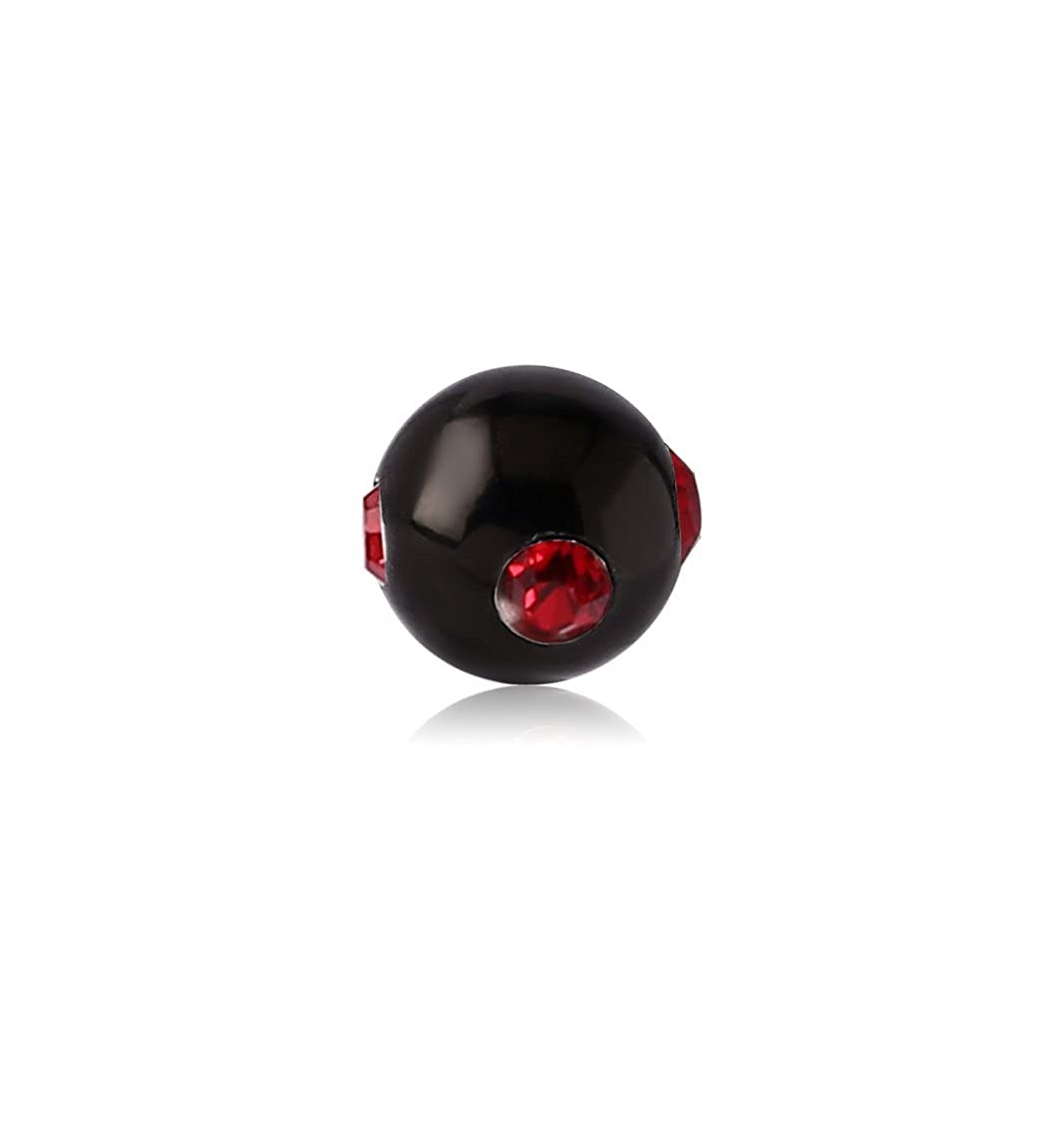 Bubble Body Jewelry Black Pvd Surgical Steel Jeweled Satellite Ball 1.6mm Gauge 14g