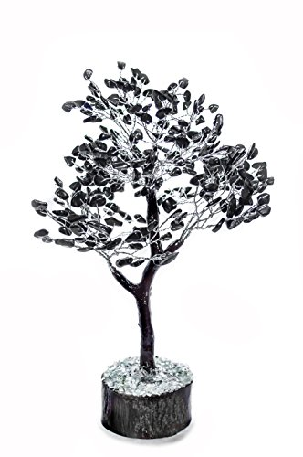 FASHIONZAADI Black Tourmaline Natural Stone Feng Shui Bonsai Money Tree for Chakra Balancing Good Luck EMF Protection Healing Table Décor Health Prosperity Size 10-12 inch (Silver Wire)