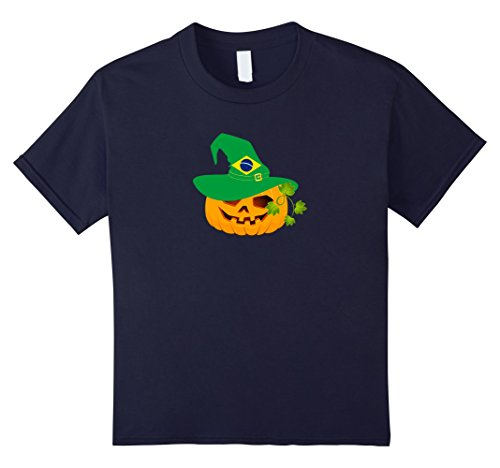 Kids Pumpkin Brazil Flag Hat Funny Halloween Costume Shirt 6 (Brazilian Costume For Kids)