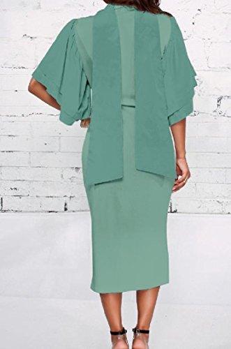 Coolred-femmes Dans La Carrière Pur Bowknot Silm Élégant Robes Milieu Vert